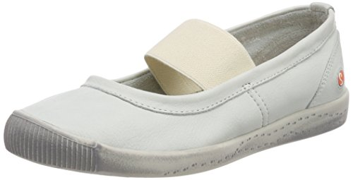 Softinos Damen Ion446sof Smooth Geschlossene Ballerinas Weiß (White)