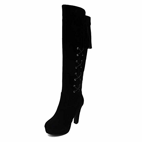 High Black Women's Boots Top Fringed Imitated Zipper Suede AmoonyFashion High Heels EvwUqFq