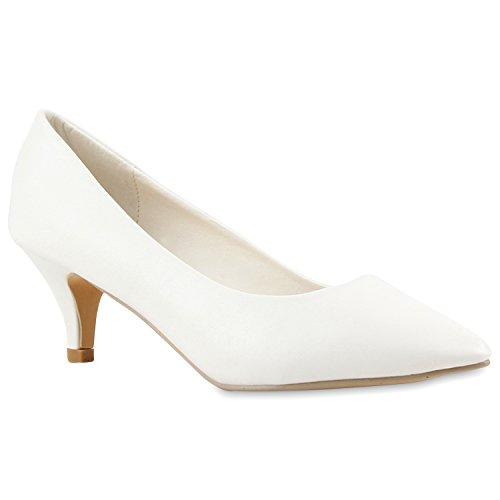 Damen Spitze Pumps High Heels Lack Glitzer Kitten Heels Party Stilettos Elegante Abendschuhe Fransen Flandell Weiß