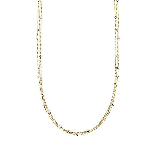 Three Strand Cable Chain (0.26 Ct Diamonds 18k Yellow Gold 1.5mm Diamonds-By-The-Inch 3 Strands Cable Chain Necklace - 18