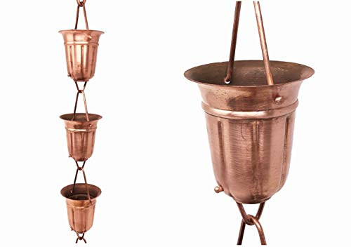U-nitt 8-1/2 feet Pure Copper Rain Chain for Gutter: Shakespeare Cup 8.5 ft Length #5551 ()