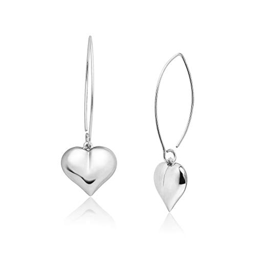 Big Apple Hoops - Genuine Sterling Silver Valentine's Heart Dangle Earrings | Silver Flashed ()