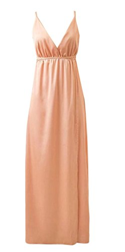 Neck Sexy V Dress Split Long Satin Backless Party Khaki Deep Sleeveless Jaycargogo Women's XqR5YY