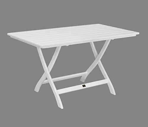 Gartentisch Mainau klappbar eckig - Nostalgie aus Holz - weiß lackiert - Qualität aus Deutschland