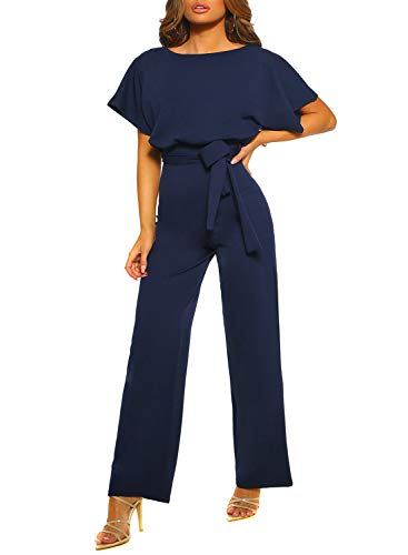 Happy Sailed Women Casual Loose Short Sleeve Belted Wide Leg Pant Romper Jumpsuits X-Large Navy Blue]()
