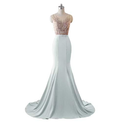 Pailletten Stickerei Formale Brautkleid Abendkleid Frauen King's Hellblau Lange Spitze Love Meerjungfrau Iqz0xR68