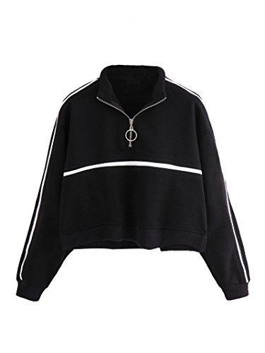 ont High Neck Tape Striped Detail Crop Sweatshirt Black XL ()