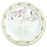 Solo Cup MP6J8001CT Symphony Paper Dinnerware Medium Weight Plate, 6 in. Tan