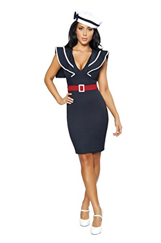 Sexy Women's 3pc Captain's Choice Sailor Babe Military Armed Forces Costume (M)