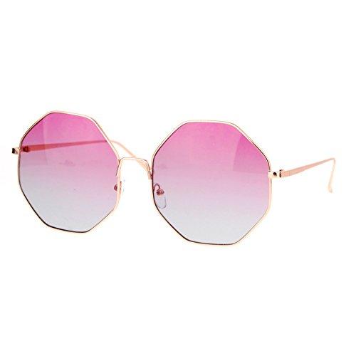 Womens Sunglasses Octagon Shape Metal Frame Gold, Pink Blue - Sunglasses Ombre