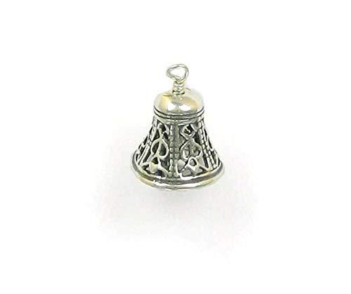 - Pendant Jewelry Making/Chain Pendant/Bracelet Pendant Sterling Silver 3-D Movable Filigree Bell Charm