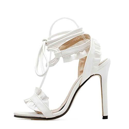 5 Lacets Escarpin 11 Femme Mode Sandale Haute Cm Avec Aiguille Cheville Osyard Blanc Talon 0d7qgw76