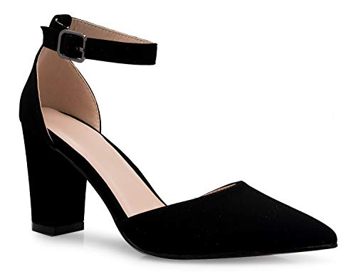 OLIVIA K Women's Sexy D'Orsay Ankle Strap Pointed Toe Block Heel Pump - Classic, -