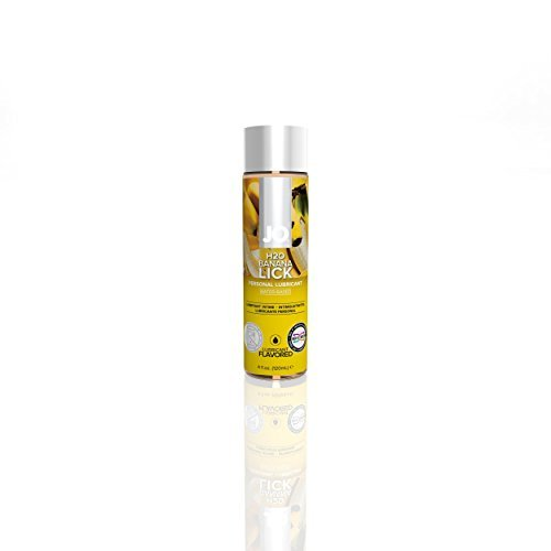 (System JO H2O Flavored Lube Water Based Lubricant Banana Lick 4 Oz (NEW PACKAGE))