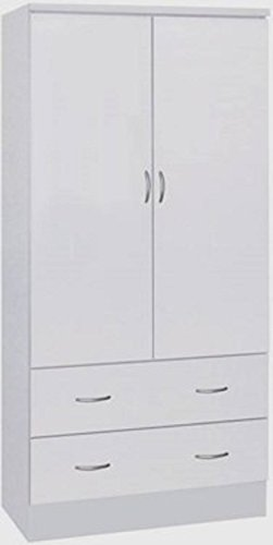 HODEDAH IMPORT Hodedah Two Door Wardrobe, with Two Drawers, and Hanging Rod, White (2 Door White Wardrobe)