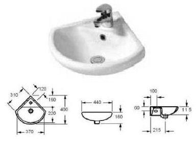 Lavabo - Lavamani ad angolo in ceramica lati 31x31 cm. ipotenusa 43 ...