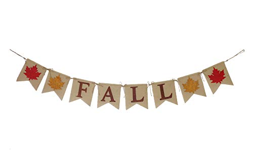 Thanksgiving Day Decoration Banner Sun Decor 9ft Handmade Glittered Harvest Happy Fall Burlap Banner Garland with Maple Leaf pennants for Festival Celebration Decoration
