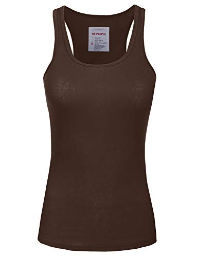 NE PEOPLE Womens Basic Stretch Comfy Fitted Ribbed Tank Top S-3XL (X-Large, NEWT386-Brown) ()