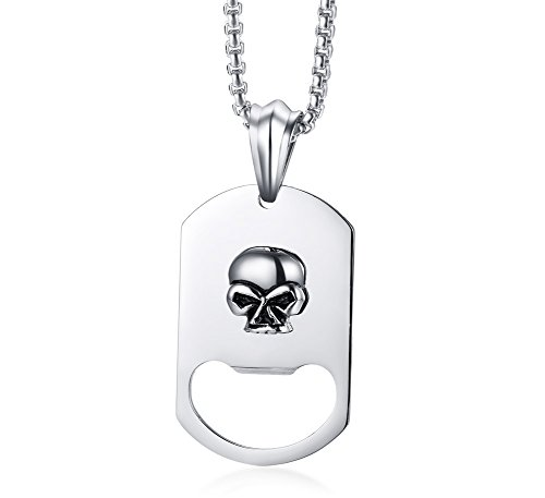 MP Men's Stainless Steel Personalized Bottle Opener Skull Dog Tag Pendant Necklace Gothic,Free - Wristband Bottle Opener