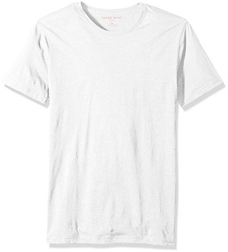 - Derek Rose Men's Riley 1 Pima Cotton Short Sleeve Crew Neck T-Shirt, White, M