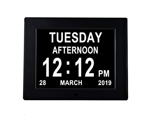 Eight Day Clock - [Newest Version] Digital Day Calendar Alarm Clock- 8 Alarms,Non-Abbreviated Day & Month Memory Loss,Dementia,Alzheimer's Vision Impaired Clock for Elderly/Seniors (8'' Black)