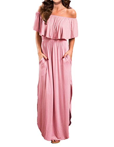 VERABENDI Women's Off Shoulder Summer Casual Long Ruffle Beach Maxi Dress with Pockets Large Pink