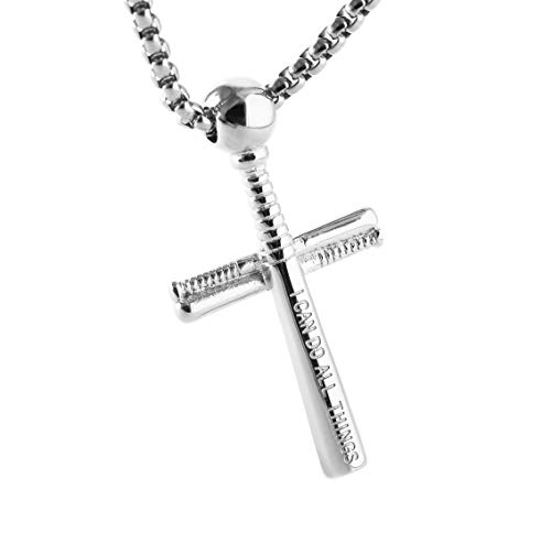 HZMAN Athletes Cross Necklace by Pendant Sports Stainless Steel Baseball and Baseball Bat Cross Necklace (Silver - PH 4:13) ()