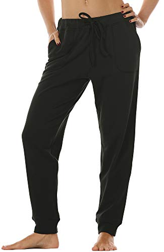 icyzone Women's Active Joggers Sweatpants - Athletic Yoga Lounge Pants with Pockets (Black, L)