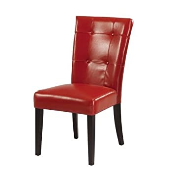 Delightful Modus Furniture 2Y9766 Bossa Dining Height Parsons Chair, Red Leatherette,  Set Of Two
