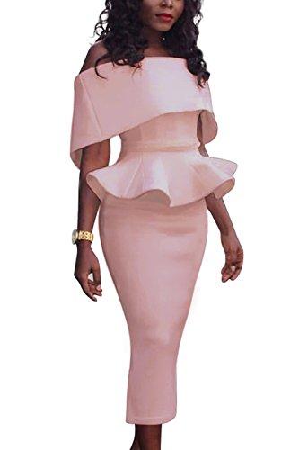 La Mujer Es Flouncing Vestido Fuera Del Hombro Lápiz Oficina Del Partido Pink