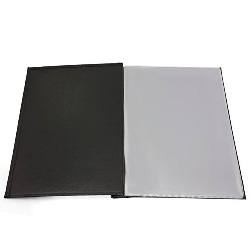 Black A4 bolted eco leather restaurant menu folder with 6 removable transparent sleeves, available in 5 colours by Panta Plast
