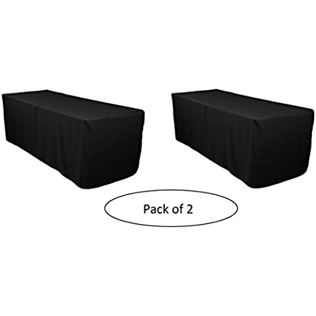 LinenTablecloth 6 Ft Fitted Polyester Tablecloth Black Pack Of 2