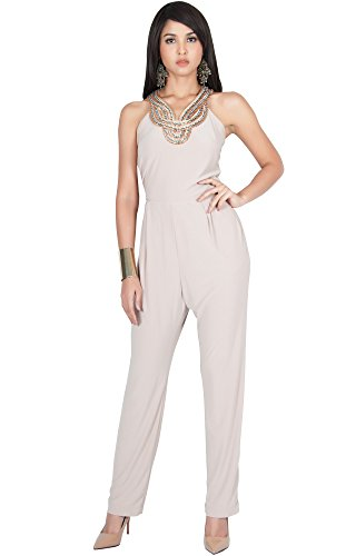 KOH KOH Plus Size Womens Sleeveless Long Sexy Cocktail Club Wear Party Halter Neck Pockets Pants Pant Suit Suits Pantsuit Playsuit Jumpsuit Jumpsuits Romper Rompers, Tan Light Brown XL 14-16