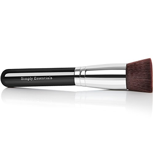 - Kabuki Makeup Brush Flat - Ebook Included - This Brush Covers Imperfections and Creates Natural Makeup Look