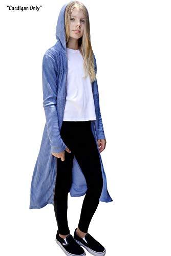 (Smukke, Big Girls Long Knit Light Weight Sweater Cardigan (Many Options) 7-16 (12, Blue)