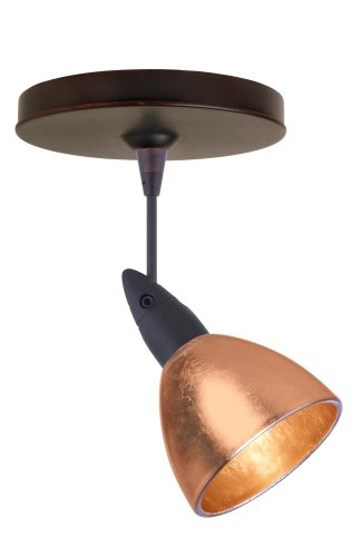 Besa Lighting 1SP-1758CF-BR 1X50W Mr16 Divi Spotlight Copper Foil Glass, Bronze Finish