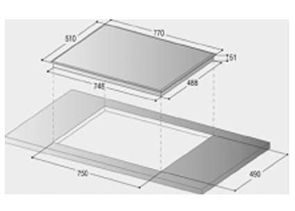 Bompani - Placa de cocina BO377AA/E, 75 cm, vitrocerámica ...