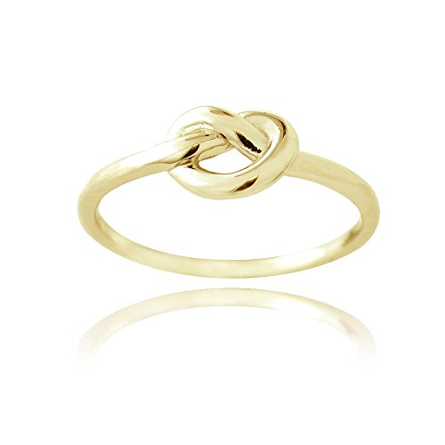 [Hoops & Loops Flash Plated Gold Sterling Silver Love Knot Ring Size 9] (Ladies Ring Leader Costume)