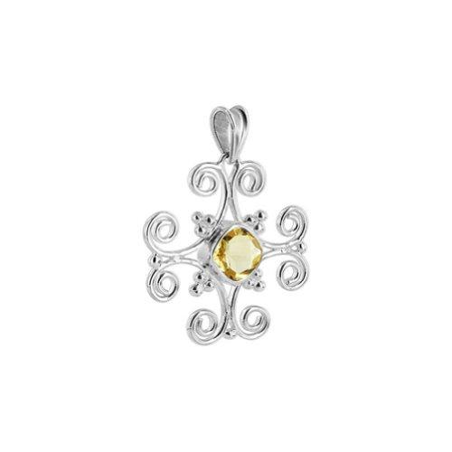 - Gem Avenue Sterling Silver 1.2 inch Princess Cut Citrine Gemstone Pendant with Filigree Design