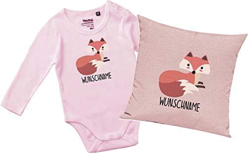 Kleckertegel cadeauset baby body & kussen met gewenste naam diermotief dieren vos