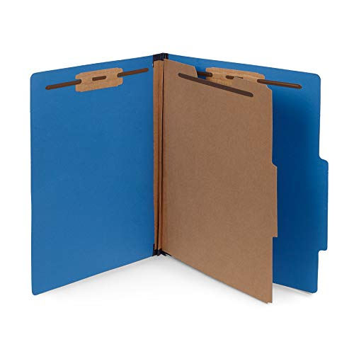 Section Top Tab Classification Folders - 10 Dark Blue Classification Folders- 1 Divider-2'' Tyvek expansions- Durable 2 Prongs Designed to Organize Standard Medical Files, Law Client Files, Office Reports- Letter Size, Dark Blue, 10 Pack