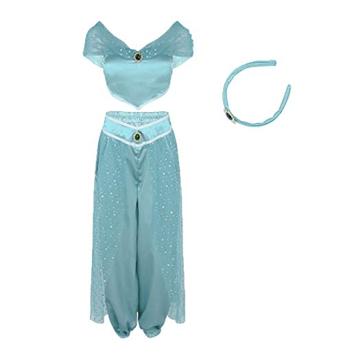 Women Aladdin Jasmine Princess Costumes Fancy Sequin Suit Dress Halloween Party Cosplay (M, Light Blue) ()