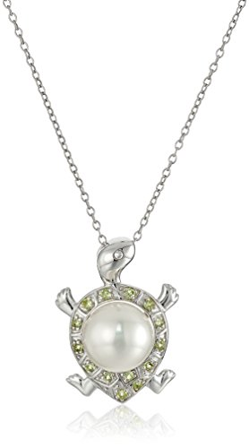 Sterling Silver Cultured Pearl and Peridot Turtle Pendant Necklace, 18