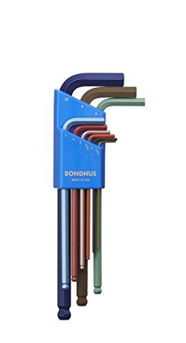 Bondhus 69499 Ball End L-Wrench Set with ColorGuard Finish, 9 Piece -