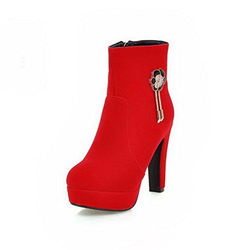 AllhqFashion Damen Reißverschluss Mattglasbirne Eingelegt Niedrig-Spitze Stiefel, Rot, 35