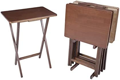 PJ Wood 5-piece Folding TV Tray Snack Table -Dark Mango