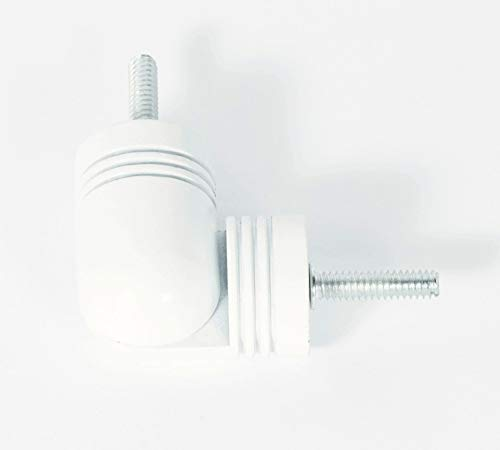 White Corner Connector - Urbanest Hinged Elbow Connector for corner or Bay Window Curtain Rod, Up To 7/8-inch Rod, Glossy White