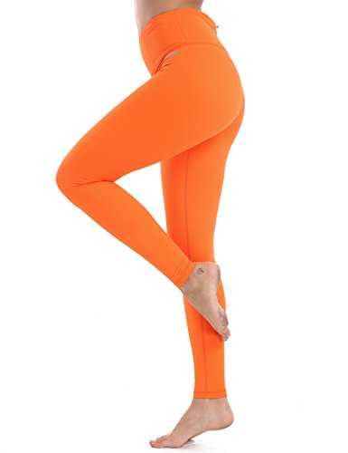 (XTUPO Women's Yoga Pants High Waist Tummy Control Workout Legging 4 Way Stretch Tights,Quick Dry Exercise Running Sports Gym Athletic Fitness Training Active Pilates Long with Pockets Orange M)