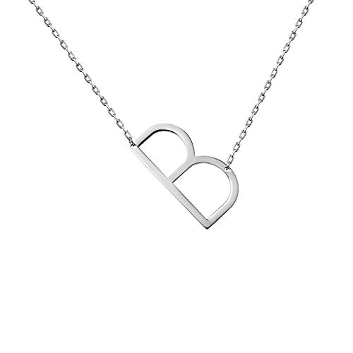 WIGERLON Stainless Steel Initial Letters Necklace for Women and Girls Color Gold and Silver from A-Z Letter B Color Sliver ()