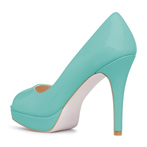 Women Slip On Turquoise Classic YDN Peep Platform Heels Toe High Shoes Pumps Stiletto Dress AIwxdxHq